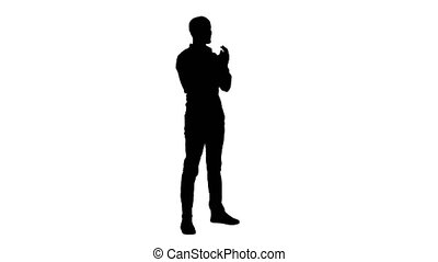 Silhouette Handsom arab clapping his hands applauding. -...