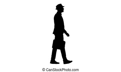 Silhouette Man in casual walking with briefcase. - Full...