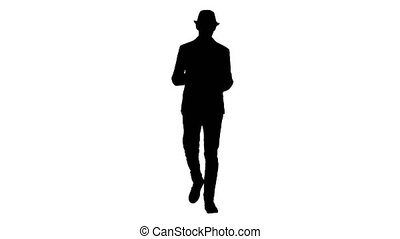 Silhouette Arab presenter in casual walking with tablet and...