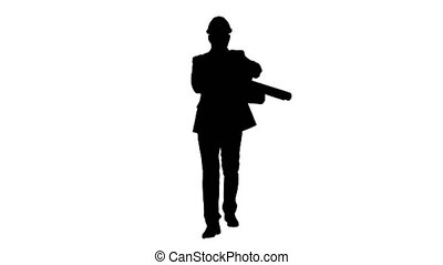 Silhouette Concept of start up business,architects,engineer holding blueprint in the office or construction site and walking.