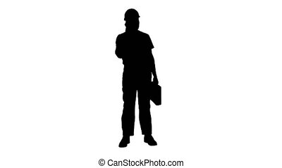 Silhouette Construction Worker On Telephone.