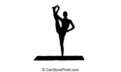 Silhouette Female Yoga Model Making Standing Split Smiling....