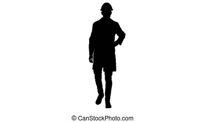 Silhouette Scientist engineer in safety glasses and hard hat...