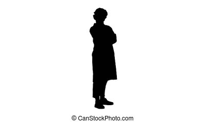 Silhouette Smiling confident young woman doctor standing...