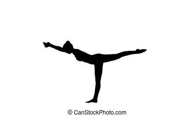 Silhouette Tuladandasana or Balancing Stick Pose is an advanced yoga posture made by beautiful yogi woman.