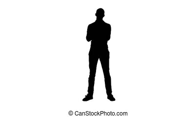 Silhouette Young arabic man standing claps his hands...