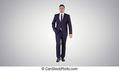 Thoughtful businessman walking on gradient background. -...
