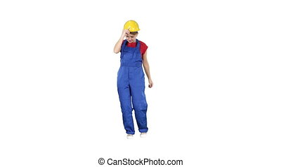 Tradeswoman dancing Construction uniform dressed woman on...
