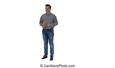 Casual man looking around smiling happy with something that he sees on white background.