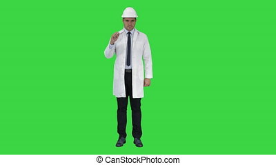 Confident Science Engineer Making Attention Hand Gesture...