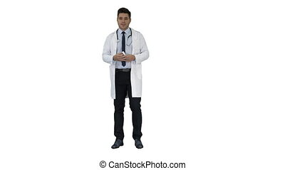 Doctor physician presenting medicine on white background. -...