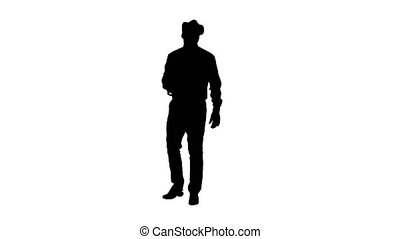 Silhouette Astonished young businessman wearing VR glasses....