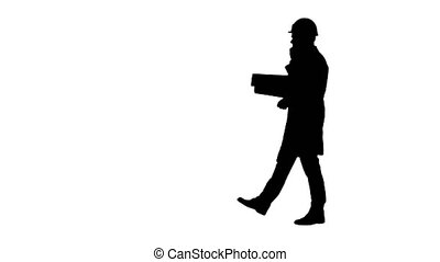 Silhouette Business man computer science engeneer talking by...
