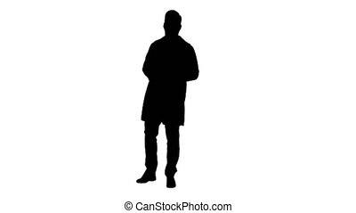 Silhouette Clinician Doctor Man Showing Drugs Medication and Talking to Camera.