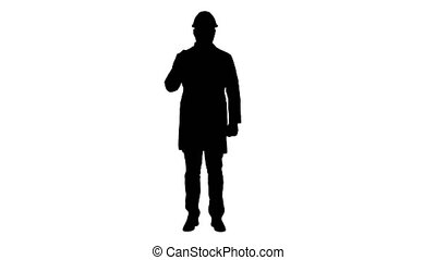 Silhouette Confident Science Engineer Making Attention Hand...