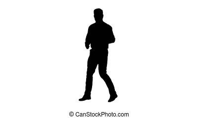 Silhouette Handsome man taking a selfie. Fast selfie.