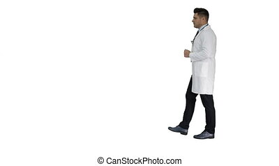 Walking male doctor passing by on white background. - Full...