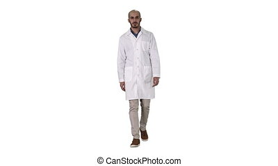Walking male arab doctor on white background.