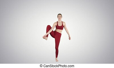 Young yogi woman practicing yoga concept, Variation of...