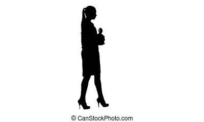 Silhouette Young woman pharmacist in white gown coat uniform...