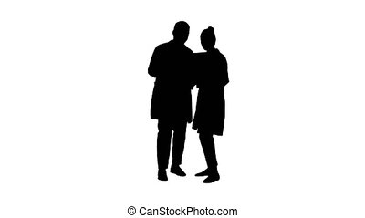 Silhouette Serious nice woman doctor and afro american...