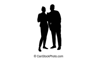 Silhouette Young caucasian businesswoman and her african...