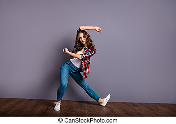 Full length size body view photo fly high amazing attractive beautiful she her lady modern crazy dance flexible wearing casual jeans denim checkered plaid shirt grey background