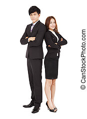 full length smiling business man and woman