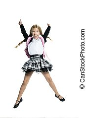 full length stand up little blond school girl with backpack bag high jump on white background