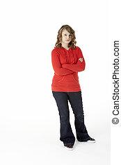Full Length Studio Portrait Of Teenage Girl