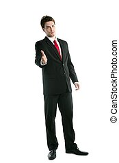 full length suit businessman friendly handshake