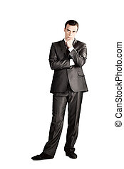 full length suit tie businessman