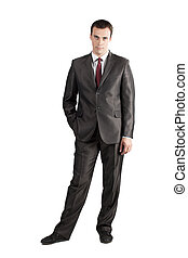 full length suit tie businessman with hand in pocket
