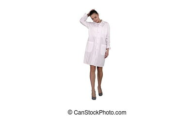 Happy young woman doctor dances on white background. - Full...