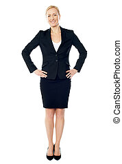 Full length view of attractive business executive