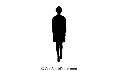 Silhouette Woman engineer in white robe and white hard hat ...