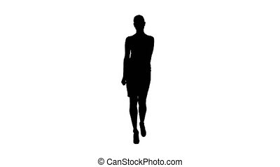 Silhouette Woman showing and presenting copy space in business dress.