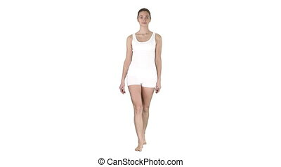 Walking Barefoot Girl In White Shorts And White Shirt on...
