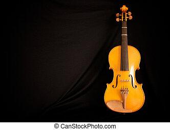 full length violin leaning on black - full length view of...