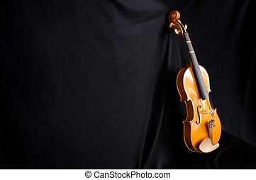 full length violin leaning on black backdrop - beautiful...