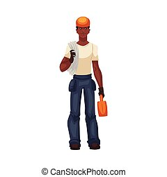 Full length young and handsome african worker with a toolbox