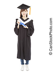 full length Young graduate girl student with diploma