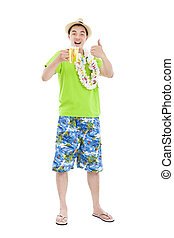 full length young man drinking beer at summer time