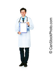 Full length young smiling male doctor showing clipboard with copy space for text on white background