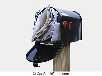 Full black mailbox Open black mailbox filled with mail picture