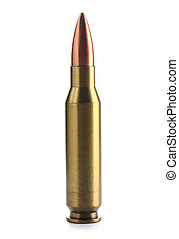 Full metal jacket bullet isolated on white background