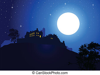 A castle at the mountain with full moon as the background