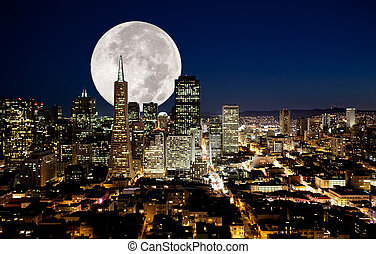 Full Moon - A full moon over a urban metropolis