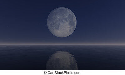 Full moon above mirror water surface