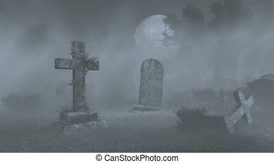 Full moon above old spooky cemetery - Abandoned cemetery...